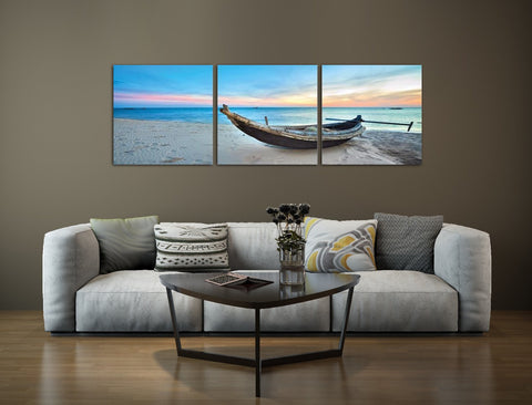 Boat on the Beach Acrylic Wall Art Set of 3 60x60cm