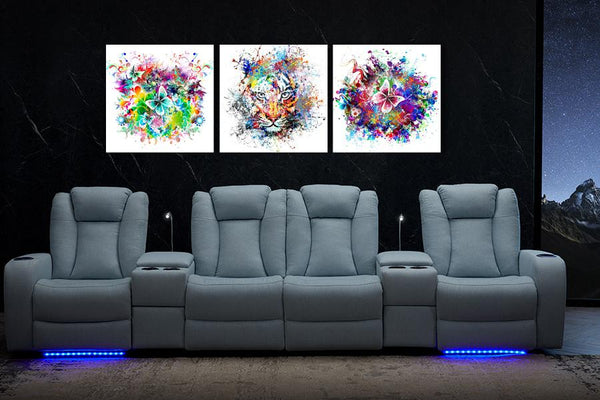 Acrylic Painting Set of 3: Colourful Tiger & Butterfly - Order Only Acrylic Printed Painting Adore Home Living Perth Furniture Store
