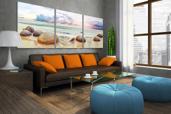 Pebbles Stones Sea Beach Acrylic Wall Art Set of 3 - Order Only - Adore Home Living Perth WA