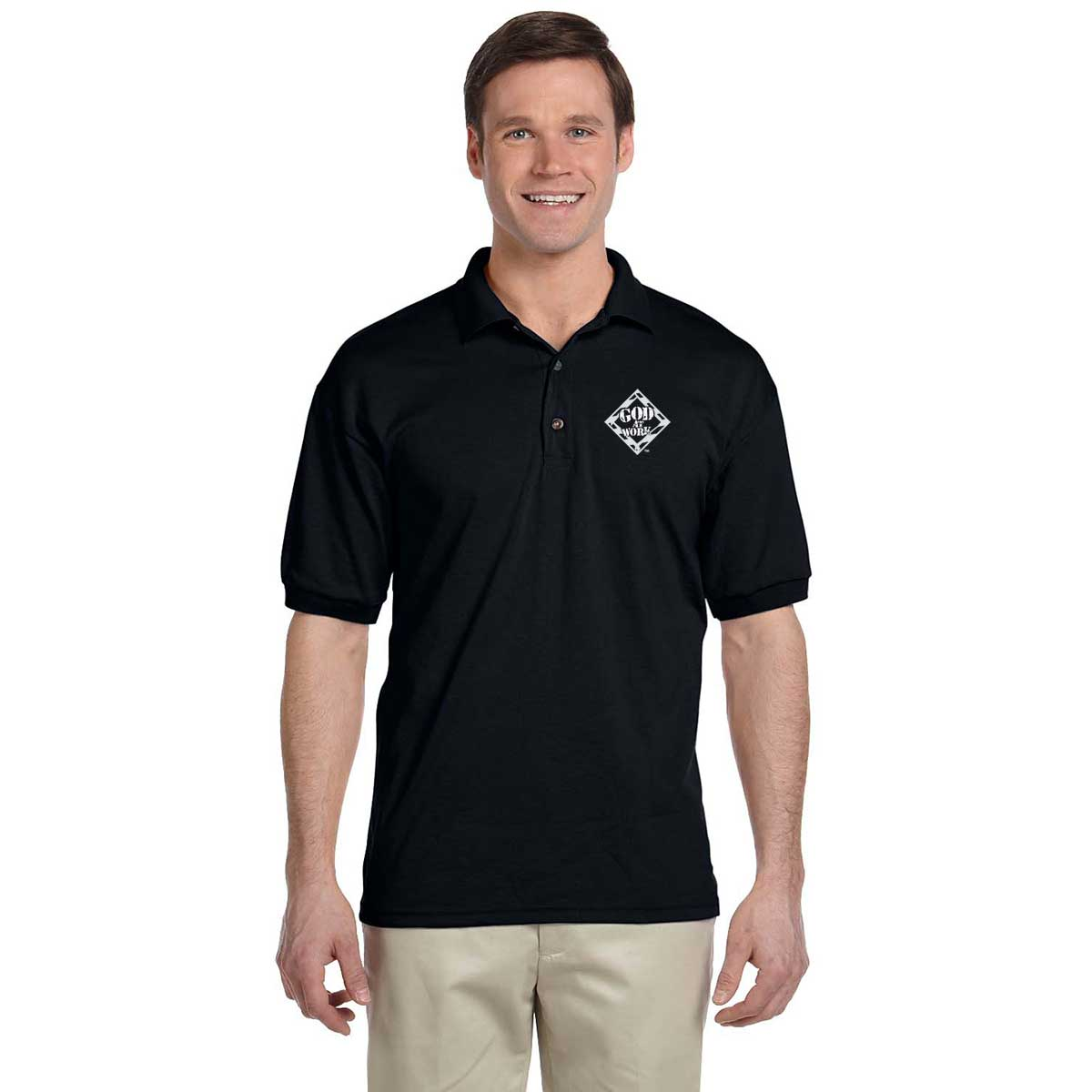 God At Work Embroidered Short Sleeve Polo Black