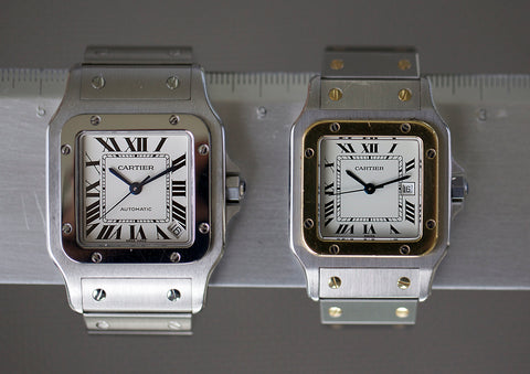 Cartier Galbee XL (2005-2014) vs older, rectangular Santos (1978-2004)