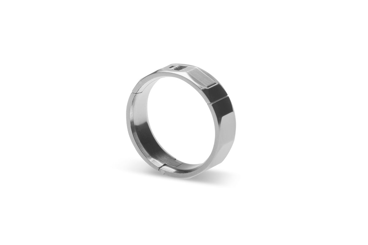 Hinged, aircraft grade, U.S. made, Titanium and hardened stainless steel wedding ring, Dodecagon shape, Center-Pull, openable ring