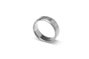 Hinged, aircraft grade, U.S. made, Titanium and hardened stainless steel wedding ring, Center-Pull, openable ring.