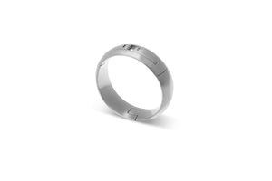Hinged, Radius outside/Comfort-Fit inside, aircraft grade, U.S. made, Titanium and hardened stainless steel wedding ring, Center-Pull, openable ring.