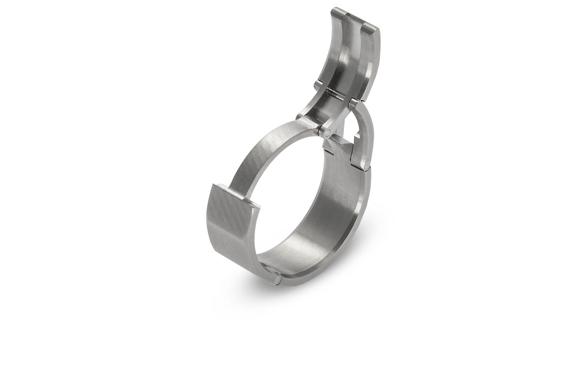 Dodecagon shaped, hinged Active, openable ring. U.S. made, Titanium and hardened stainless steel wedding ring, toggle-Pull, openable ring
