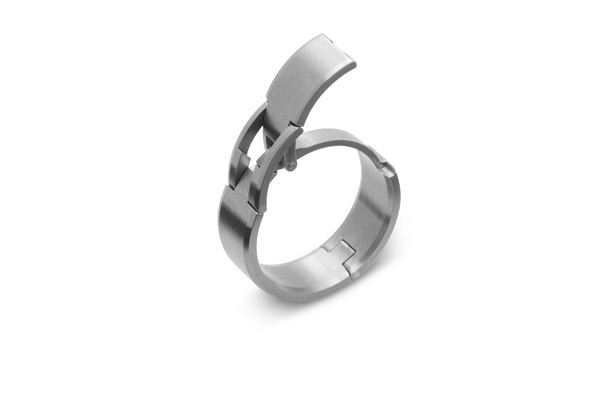 hinged, openable ring. U.S. made, Titanium and hardened stainless steel wedding ring, toggle-Pull, openable ring