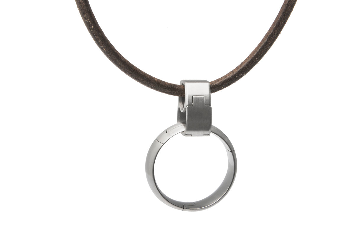 Ring clip pendant jeff mcwhinney designs pinch operated necklace pendant ring holder us made titanium and stainless steel mozeypictures Gallery