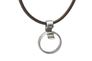 pinch operated necklace pendant ring holder, U.S. made, Titanium and stainless steel