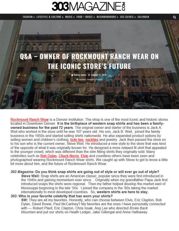 303 Magazine - Q&A - Owner of Rockmount Ranch Wear on the Iconic Store's Future