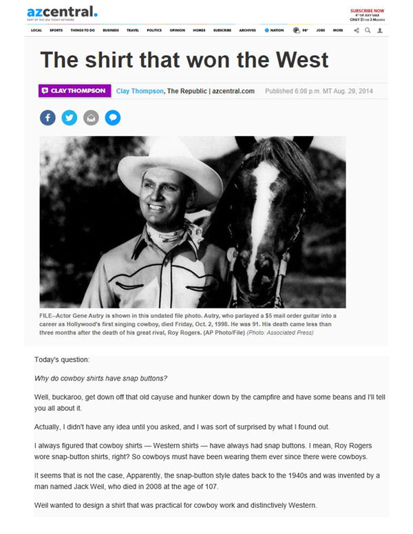 Arizona Republic - The shirt that won the West