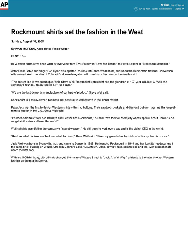 The Associated Press - Rockmount shirts set the fashion in the West