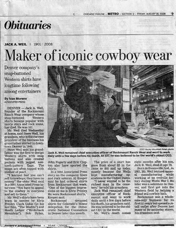 Chicago Tribune - Maker of iconic cowboy wear