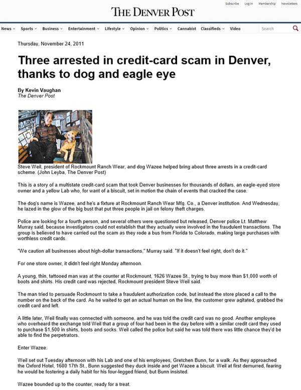 The Denver Post - Three Arrested in Credit-Card Scam in Denver, Thanks to Dog and Eagle Eye