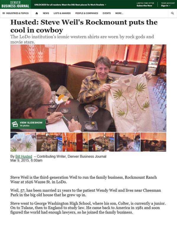 Denver Business Journal - Steve Weil's Rockmount Puts the Cool in Cowboy