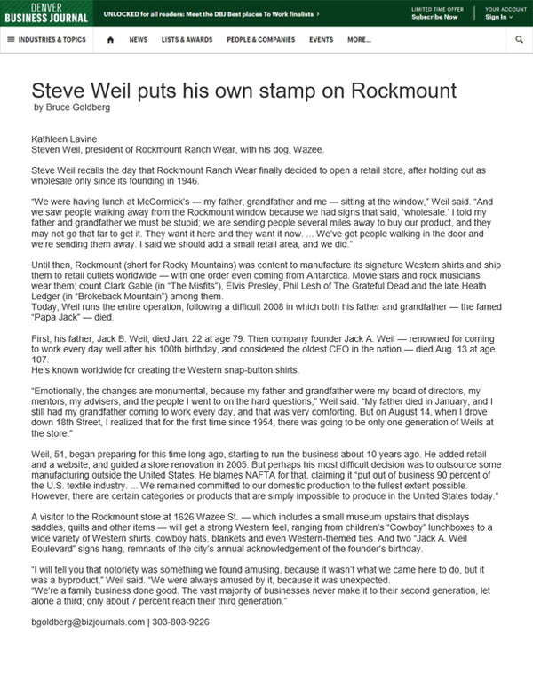 Denver Business Journal - Steve Weil puts his own stamp on Rockmount