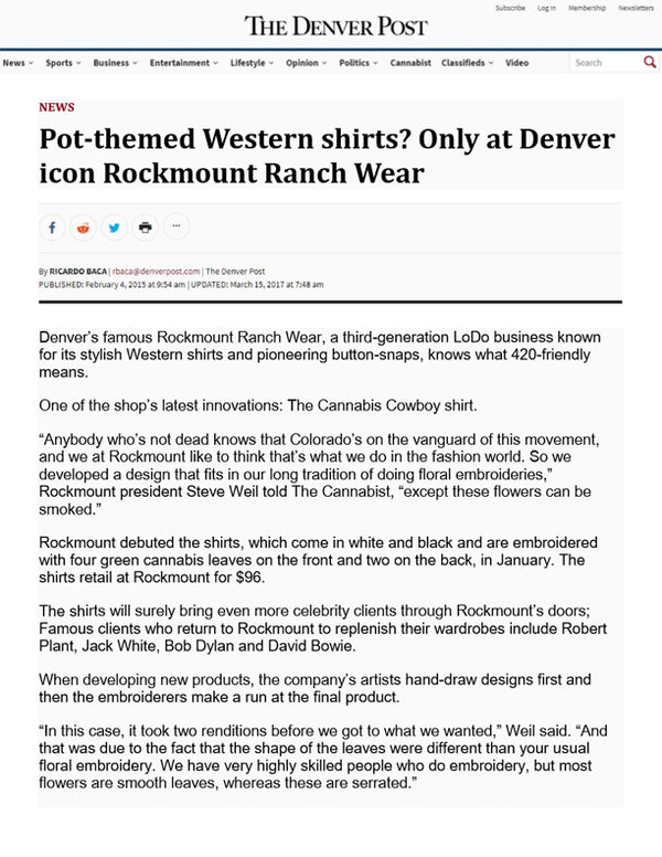 The Denver Post - Pot-themed Western shirts? Only at Denver Icon Rockmount Ranch Wear
