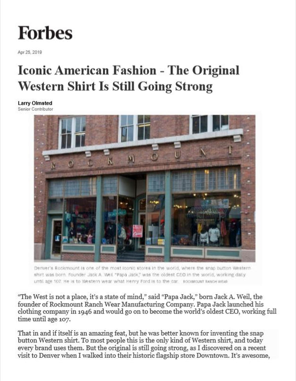 Iconic American Fashion - The Original Western Shirt is Still Going Strong