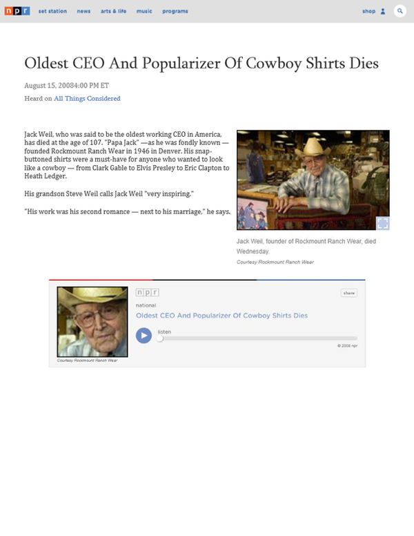 NPR - Oldest CEO And Popularizer Of Cowboy Shirts Dies