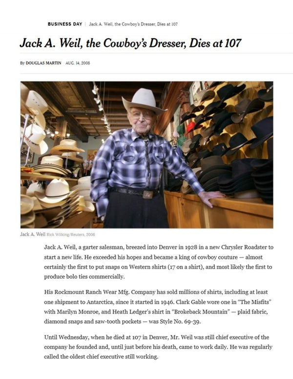 The New York Times - Jack A. Weil, the Cowboy's Dresser, Dies at 107
