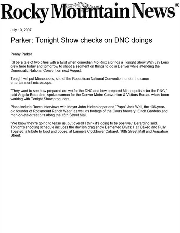 Rocky Mountain News - Parker: Tonight Show checks on DNC doings