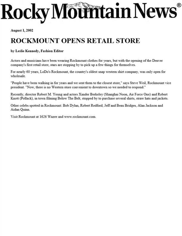 Rocky Mountain News - Rockmount Opens Retail Store