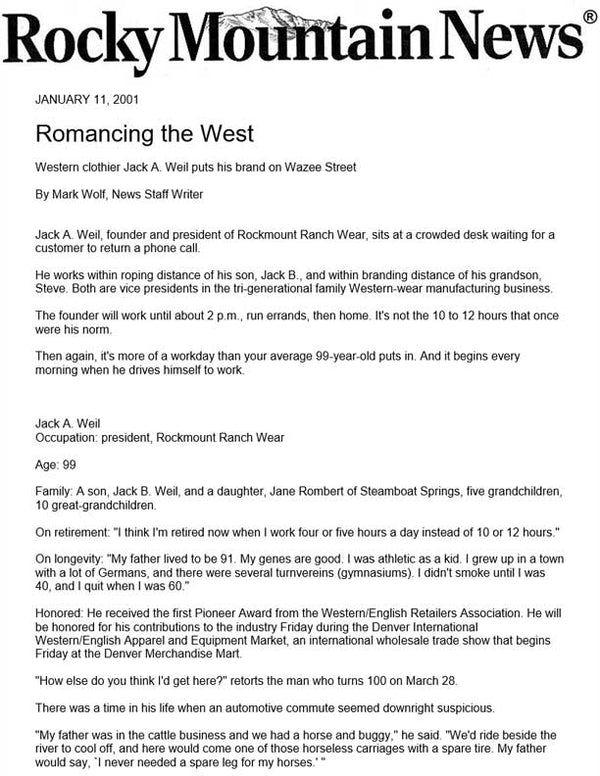 Rocky Mountain News - Romancing the West