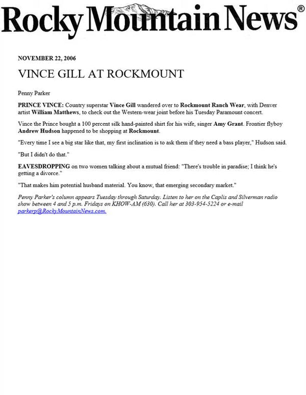 Rocky Mountain News - Vince Gill at Rockmount