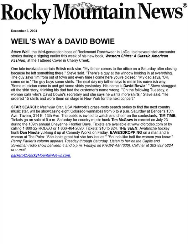 Rocky Mountain News - Weil's Way & David Bowie