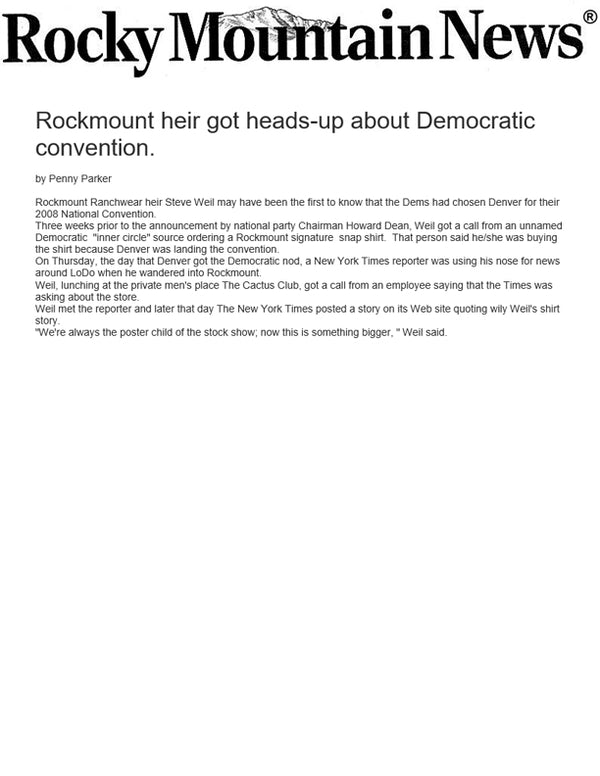 Rocky Mountain News - Rockmount heir got heads-up about Democratic convention