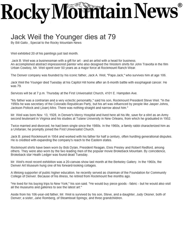 Rocky Mountain News - Jack Weil the Younger dies at 79