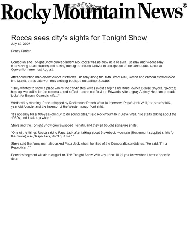 Rocky Mountain News - Rocca sees city's sights for Tonight Show