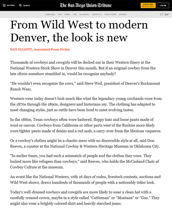 The San Diego Union-Tribune - From Wild West to modern Denver, the look is new