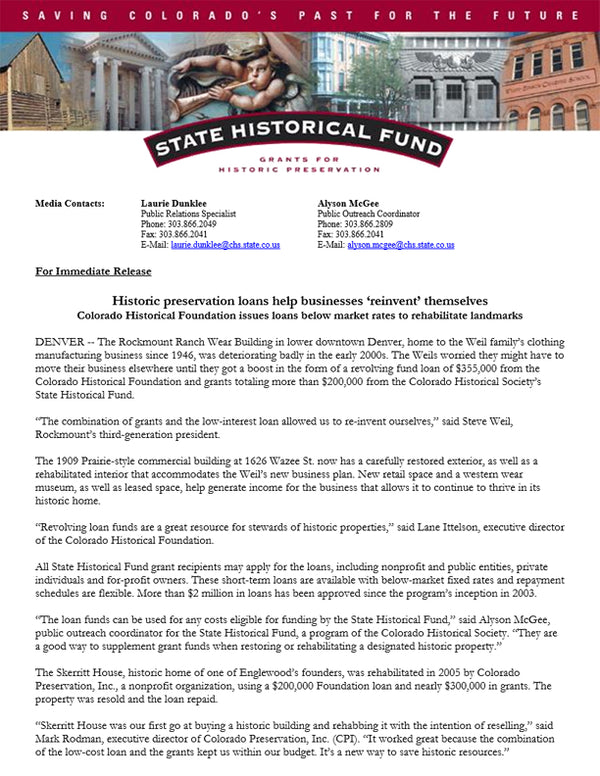 State Historical Fund - Historic preservation loans help businesses 'reinvent' themselves