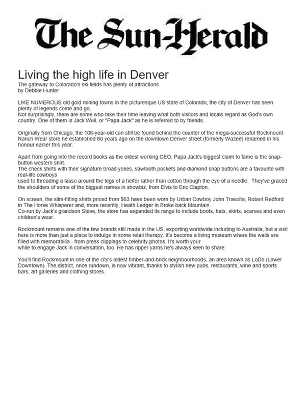The Sun Herald - Living the high life in Denver