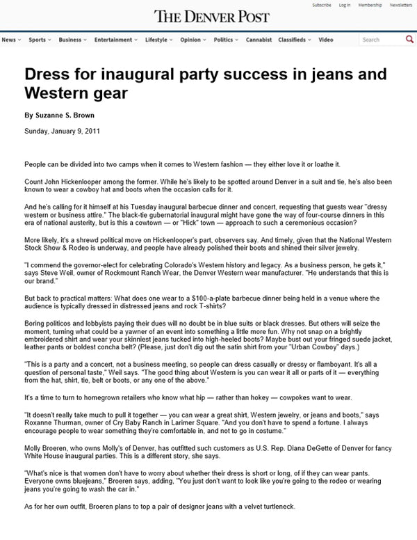 The Denver Post - Dress for Inaugural Party Success in Jeans and Western Gear