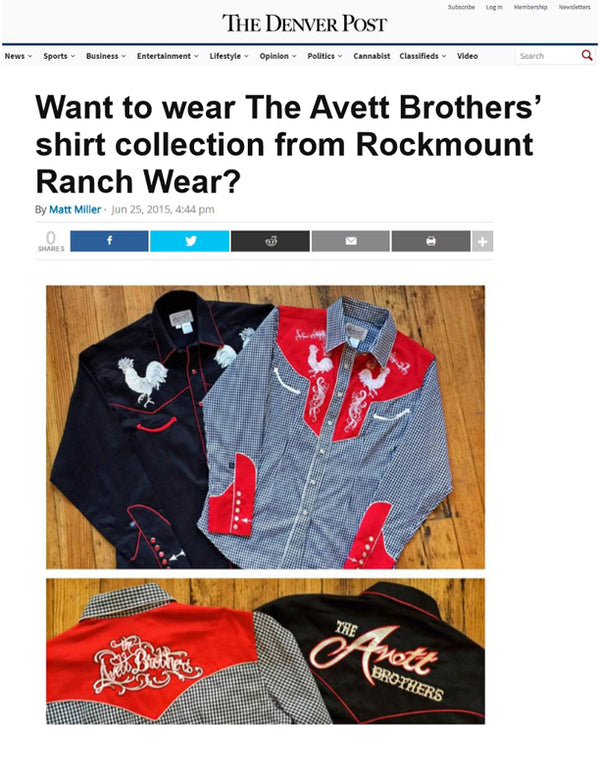 The Denver Post - Want to wear The Avett Brother's shirt collection from Rockmount Ranch Wear?
