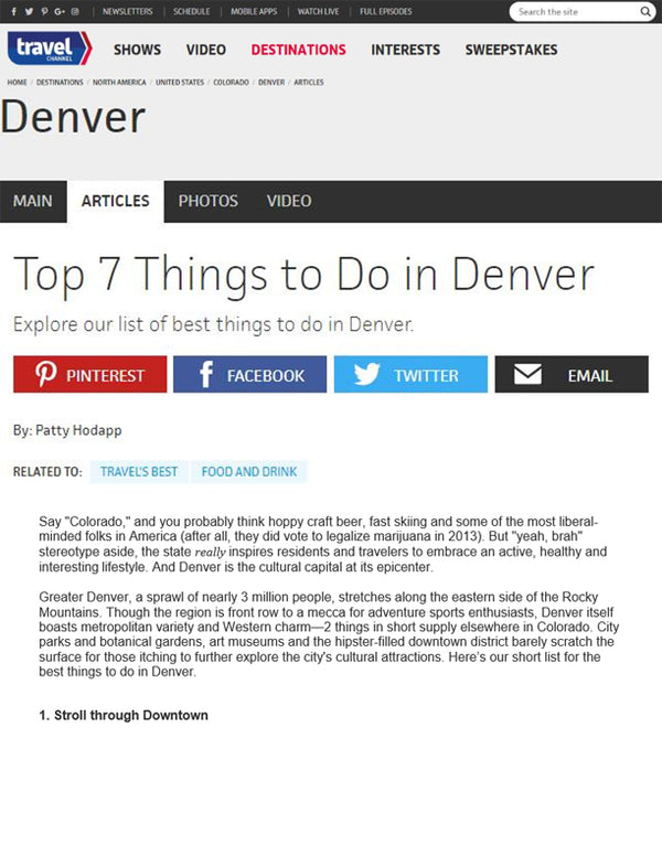 Travel Channel - Top 7 Things to Do in Denver