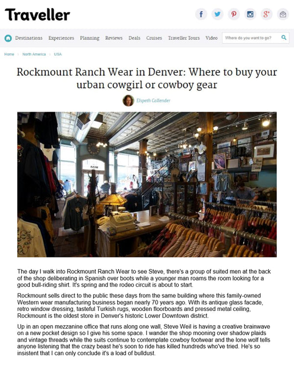 Traveller - Rockmount Ranch Wear in Denver - Where to buy your urban cowgirl or cowboy gear