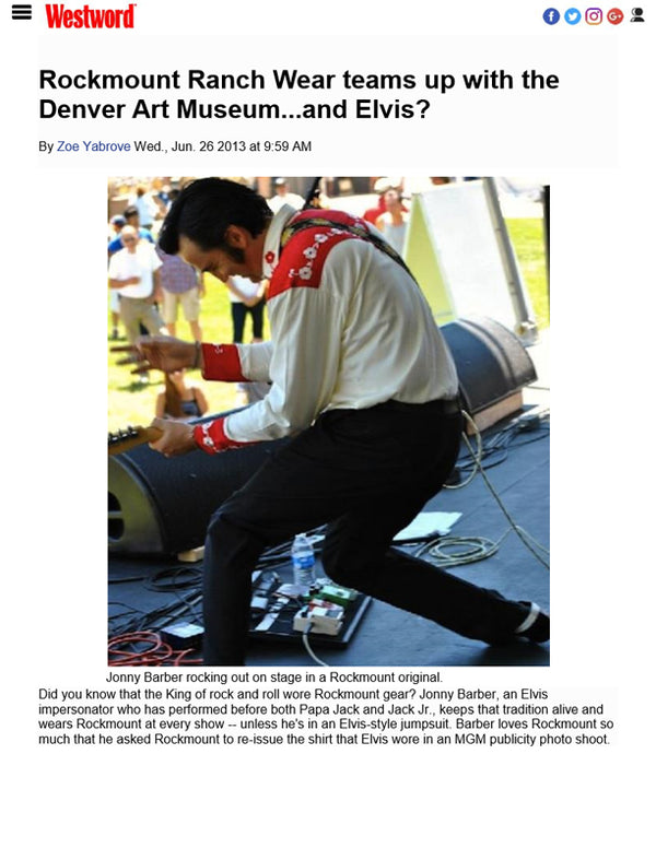 Westword - Rockmount Ranch Wear Teams Up with the Denver Art Museum...and Elvis?
