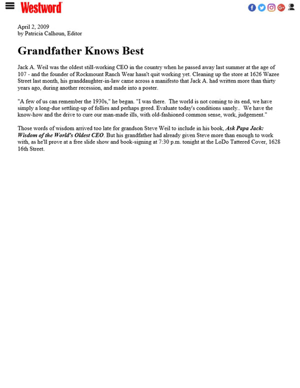 Westword - Grandfather Knows Best
