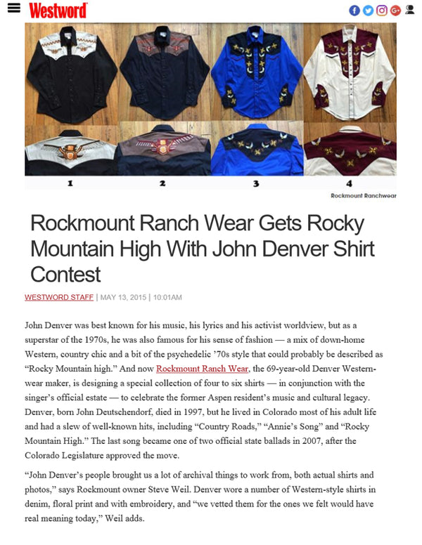 Westword - Rockmount Ranch Wear Gets Rocky Mountain High with John Denver Shirt Contest