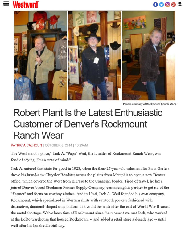 Westword - Robert Plant Is the Latest Enthusiastic Customer of Denver's Rockmount Ranch Wear