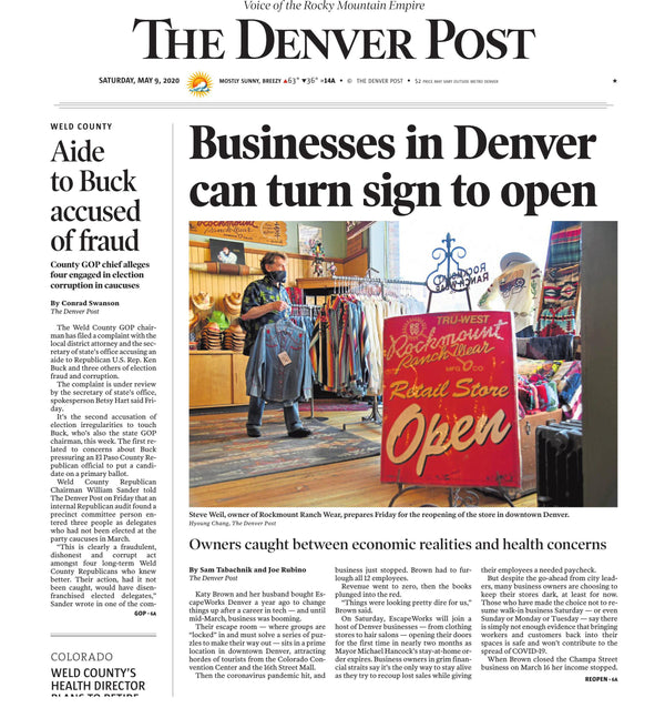 Rockmount on Cover of The Denver Post - Denver Businesses Can Turn Sign to Open
