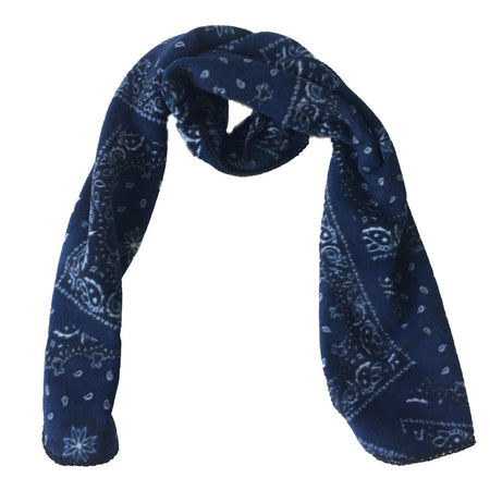 Native Pattern Fleece Scarf in Blue & White