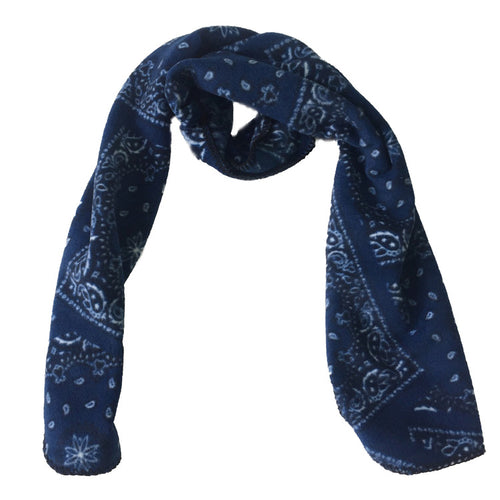 Blue Bandana Print Fleece Scarf