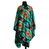 Native Pattern Fleece Western Poncho