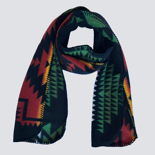 Native Print Fleece Scarf in Brown and Green