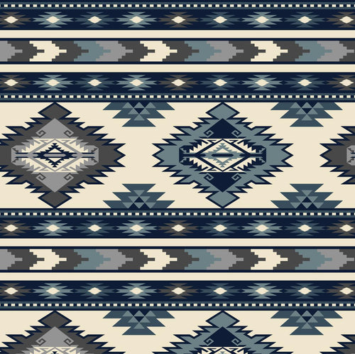 Native Pattern Fleece Western Scarf in Blue & White
