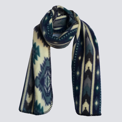 Native Print Fleece Scarf in Blue and White