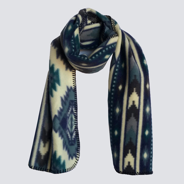 Native Print Fleece Scarf in Blue and White - Rockmount
